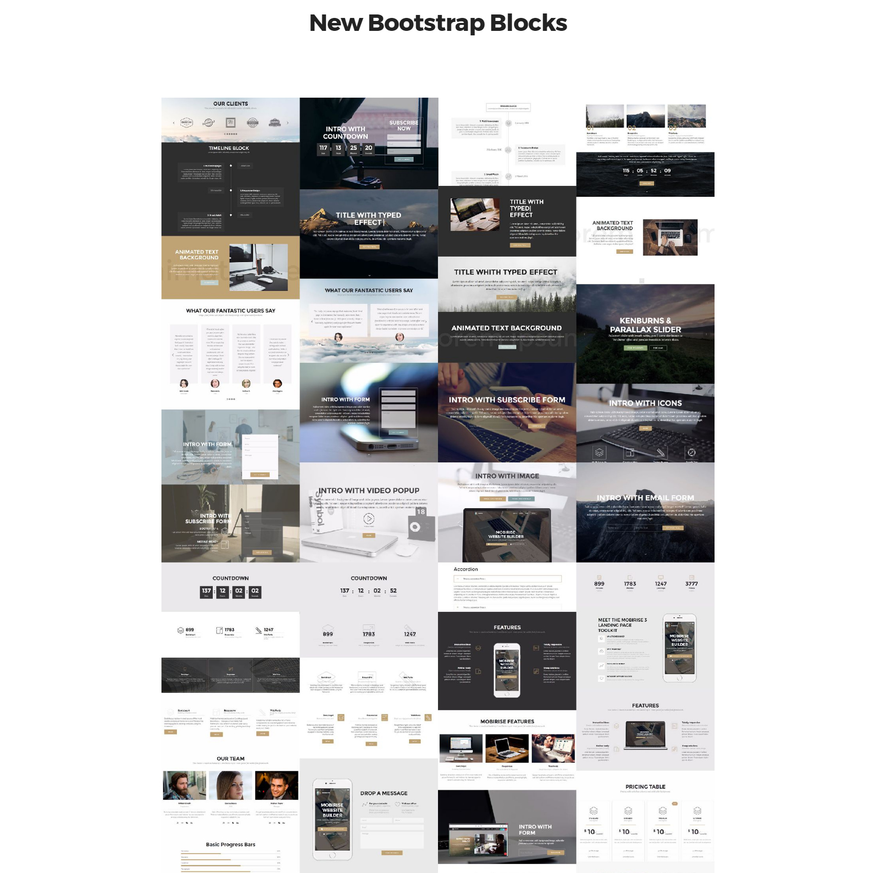HTML5 Bootstrap 4 mobile-friendly blocks Themes
